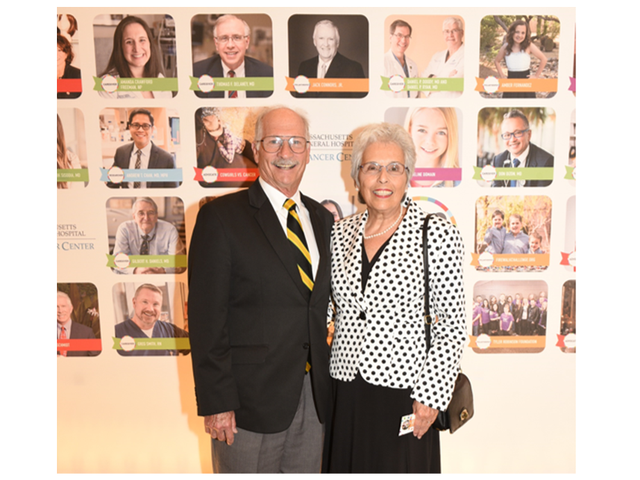 """Co-founder Sandy Maniscalco and her husband Phil represented the foundation during the 2017 """"One Hundred"""" award ceremony at Mass General Hospital."""
